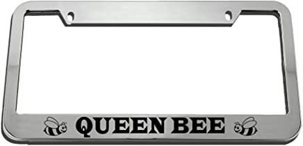 Queen Bee Black Metal License Plate Frame Tag Holder