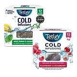 Infusión fría Tetley de hierbas y frutas: 1 x arándano y frambuesa, 1 x menta, limón y pepino - 2 x 12 bolsitas de té (54 gramos)