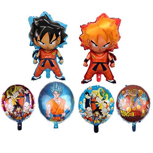 NAXIEE 6 Stück Dragon Ball Z Luftballons, Geburtstagsfeier Folienballon, Double Side DBZ Super Saiyajin Goku Gohan Charakter Partydekorationen Lieferungen