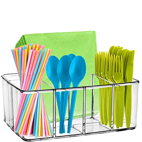 Clear Supplies Utensil Caddy Organizer - 5 Compartment Acrylic Plastic Storage Container! Perfect Holder for Any Kitchen Office or Play Room can fit Markers pens Pencils Makeup and Other Accessories!