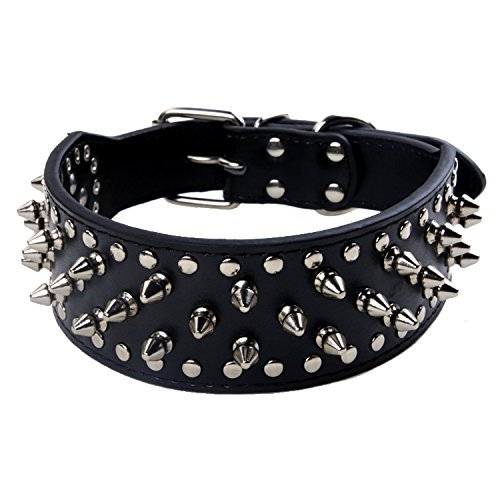 BONAWEN Leather Dog Collar Studded Dog Collar with Spikes for Large Medium Dogs,2' Width(Black,M)