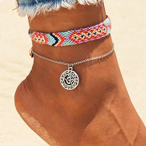 ZHANGJL Fußkette Vintage Rune Wave Fußkettchen Für Frauen Bohemian Handmade Cotton Weave Fußkettchen Armband Weiblichen Strand Fuß Schmuck 2 Teile/Satz