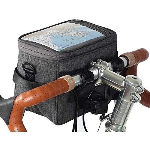 ZHANGXJ MTB Universal Bolsas para el Manillar 4.5L Gran Capacidad Bolsa Bici Soporte para Telefono Móvil Impermeable Bolsa Táctil de Tubo Superior Delantero Bolsas de Bicicleta, Gris Herramienta