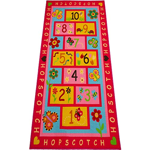 """Hopscotch Rug, Extra Large 72""""x39""""   Hop and Count -Fun And Educational, Durable Woven Anti Slip Floor Carpet, Kid's Floor Play Mat for Bedroom, Nursery, Classroom, Sturdy, Great Gift For Girls & Boys"""