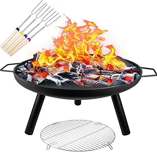 Portable Fire Pits for Garden Outdoor Fire Pits Steel Folding Fire Bowl with Grill & Cover & Poker Camping Fire Pit BBQ