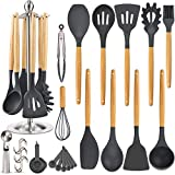 Silicone Kitchen Cooking Utensil Set, EAGMAK 15PCS Kitchen Utensils Spatula Set with Stainless Steel...