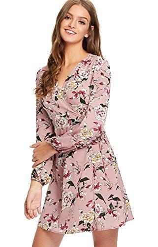 Milumia Women's Vintage Floral Print Boho Split Wrap Slim Dress Large Multicolor-4