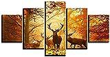 Fdit Elk otoño paisaje HD abstracto lienzo arte pintura para sala de...