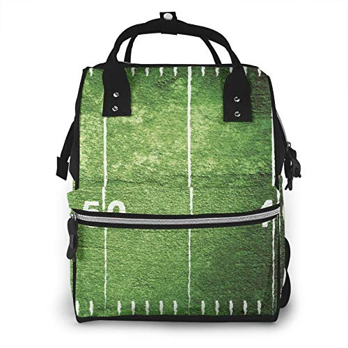 Risating Mummy Backpack - Football Field Baby Changing Bags Multifunction Durable Twill Canvas for Mom Dad