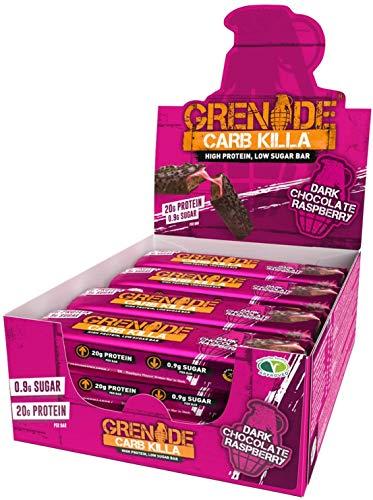 Grenade Carb Killa Barretta Proteica a Basso Contenuto di Carboidrati, 12 x 60g, Dark Chocolate Raspberry