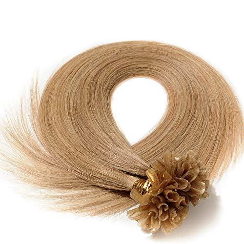 Echthaar Extensions Bondings 60cm Haarverlängerung Keratin Bonding 100 Strähnen - 50g #27 dunkelblond