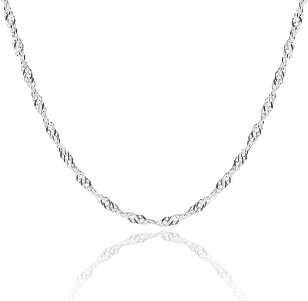 1mm thick solid sterling silver twist Italian 925 Detroit Mall Max 50% OFF SINGAPORE ROPE