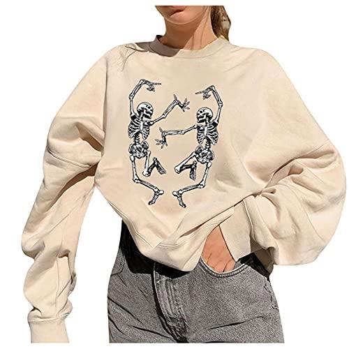 Briskorry Herfst Losse dames T-shirt effen doodskop print trui casual ronde hals blouse comfortabel shirt vrije tijd lange mouwen kleding sweatshirt streetwear