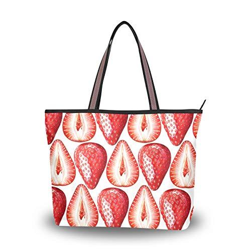 NaiiaN Leichter Riemen Reife Erdbeeren Weiß für Frauen Mädchen Damen Student Einkaufstasche Handtaschen Umhängetaschen Geldbörse Einkaufen