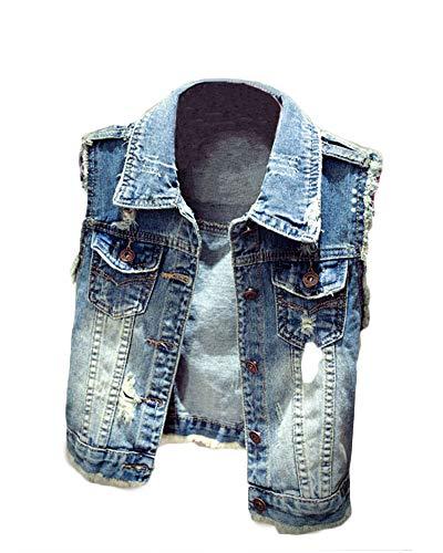 Yonglan Damen Loch Bf Stil Ausfransen Weste Jacke Ärmellos Einfache Beiläufige Jeansweste Blau 2XL