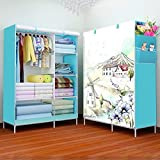 Lukzer Multi-Purpose Fancy and Portable Wardrobe for Clothes Storage Foldable Closet 6 Shelves with Side Pockets for Storage Organizer Easy to Assemble 165 x 105 x 45CM (Blue/Scenery)