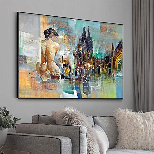 Frameloze olieverfschilderij Embelish City hedendaagse landschap muurkunst foto's voor woonkamer moderne wooncultuur poster Hd