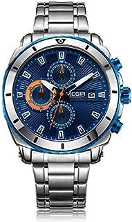 ساعة كوارتر للرجال من ميجر، بشاشة عرض كرونوغراف وسوار من الستانلس ستيل - 2075G
