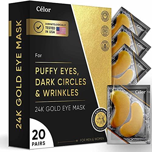 Under Eye Patches (20 Pairs) 24K Eye Mask - Under Eye Mask - Eye Masks For Dark Circles, Anti Aging, Remove Bags And Puffiness - Under Eye Gel Patches (20 Pairs) 24k Gold Eye Mask