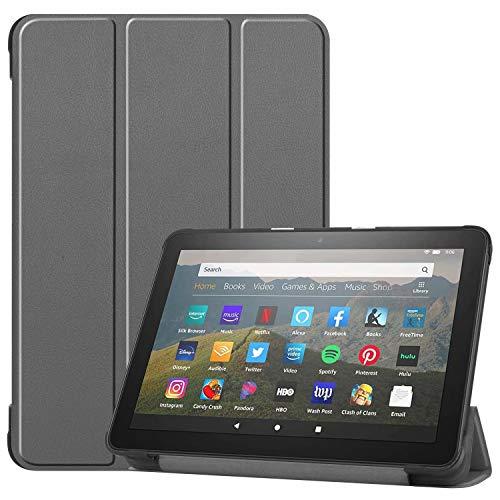 HoYiXi Custodia per All-new Fire HD 8 Plus 2020 / Fire HD 8 2020 Ultra Sottile Case in pelle Cover con Supporto Funzione Custodia di Tablet per Amazon Fire HD 8 Plus/Fire HD 8 2020 - grigio