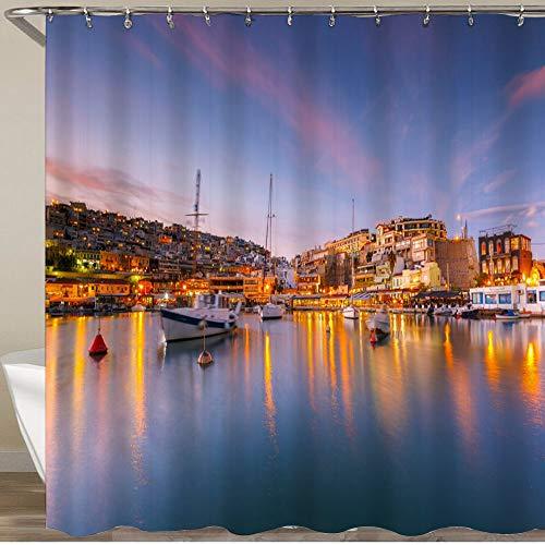 KGSPK Cortinas de Ducha,Barcos anclados en Mikrolimano Marina en Atenas,Impermeable Cortinas Baño y Lavables Cortinas Bañera 180x180CM
