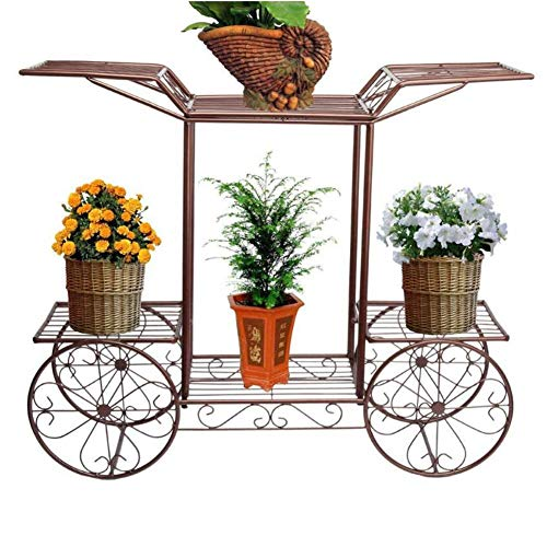 Dongbin Metall Pflanzenständer Blumenwagen, Mit Ablagen Für Balkon Wohnzimmer Restaurant,Bronze