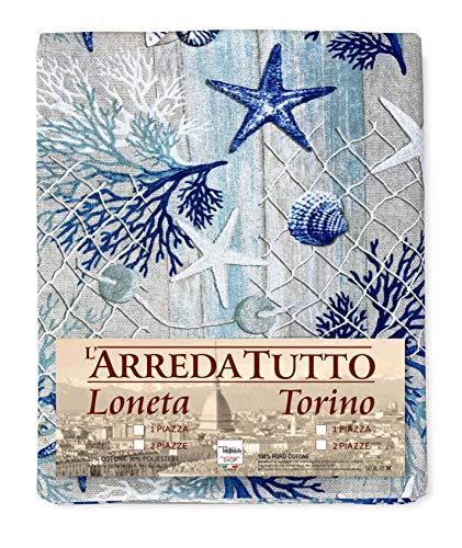 Tex family Telo ARREDO copritutto Gran Foulard COPRILETTO copridivano Tessuto LONETA Mare Marino Coralli Blu - 2 PIAZZE