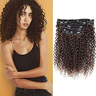 Jerry Curly Clip in Hair Extensions 14 Inch Dark Brown Color Human Hair Double Weft Brazilian Unprocessed Virgin Hair Extensions 7Pcs/lot 16 Clips (70g 14