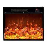 estufas electricas 25.9 '× 7.1' × 22.0 'calentador de chimenea eléctrica efecto de llama dinámica empotrada con chimenea eléctrica 1500w Calentador de marco de metal negro con control remoto chimeneas