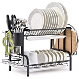 TOMORAL Dish Rack, 304 Stainless Steel 2 Tier Dish Drying Rack with Drain Board, Utensil Holder, Cutting Board Holder, Rustproof Dish Drainer for Kitchen Countertop, (Black)