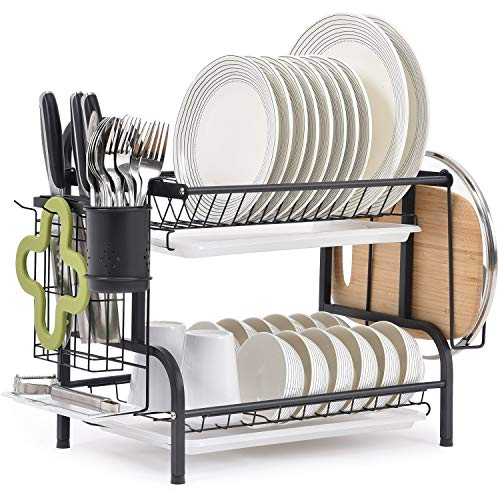 TOMORAL Dish Rack 304 Stainless Steel 2 Tier Dish drying Rack with Drain Board Utensil Holder Cutting Board Holder Rustproof Dish Drainer for Kitchen Countertop Black