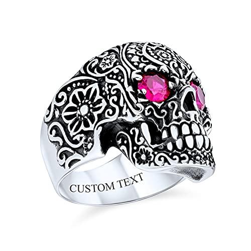 Grandes hombres Punk Rocker Biker Joyería Halloween Diablo Gótico Caribe Pirata Día de Muertos Simulado Ruby Ojos Brillantes Cráneo Cabeza Signet Anillo Oxidado .925 Plata de Ley Personalizado Grabado