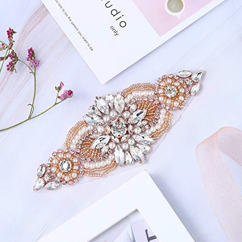XINFANGXIU Rose Gold Iron on Rhinestone Garter Appliques Crystal Wedding Patch Motif Sew on Hot Fix for Bridal Sash Bridesmaid Womens Prom Formal Belt