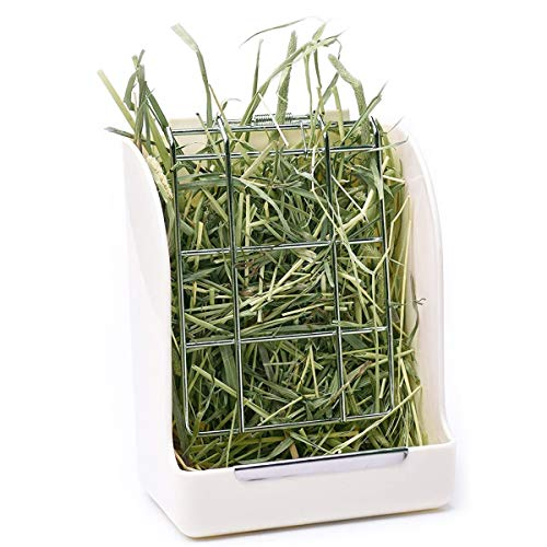 CalPalmy Hay Feeder for Rabbits, Guinea Pigs, and Chinchillas - Minimize Waste and Mess with 5 1/2 x 3 x 7 3/8 Hanging Alfalfa and Timothy Hay Dispenser