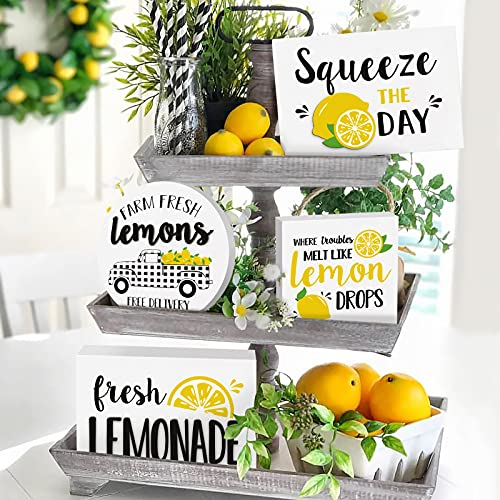 Fresh Lemonade Wooden Tiered Tray Decor Squeezy The Day Rustic Farmhouse Decor Buffalo Plaid Lemon Truck Lemon Drops Handmade Home Kitchen Signs Favor Gift Ideas Set of 4