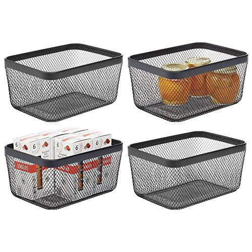 mDesign Farmhouse Decor Metal Wire Food Organizer Storage Bin Basket for Kitchen Cabinets Pantry Bathroom Laundry Room Closets Garage 4 Pack - Black