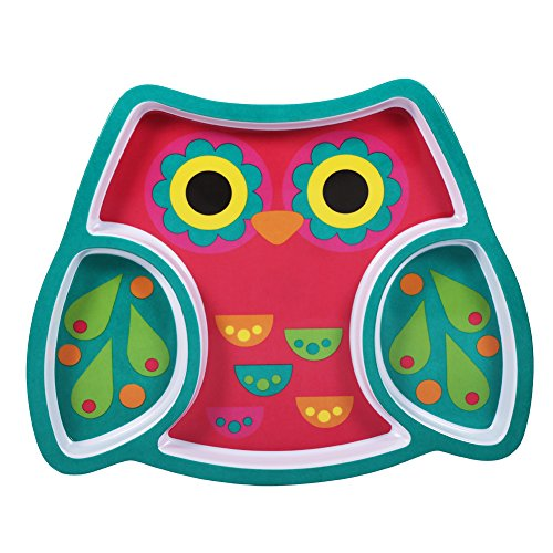 Plato para comer Plato de resina con forma de animal precioso Plato de plato dividido antideslizante Plato para platos de dibujos animados para niños pequeños(Owl)