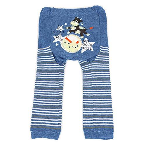 Dotty Fish Baby und Kleinkind Strickleggings. Leggings für Jungen und Mädchen. Blaue Streifen mit Hey Diddle Diddle. Klein (6-12 Monate)