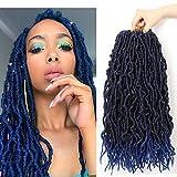 7 Packs Nu Faux Locs Crochet Hair 18 Inch Gypsy Locs Crochet Braids Curly Wavy Goddess Locs Pre-loop Crochet Braids 100% Natural African Roots Synthetic Fiber Faux Locs (18 Inch, T1B/Blue)
