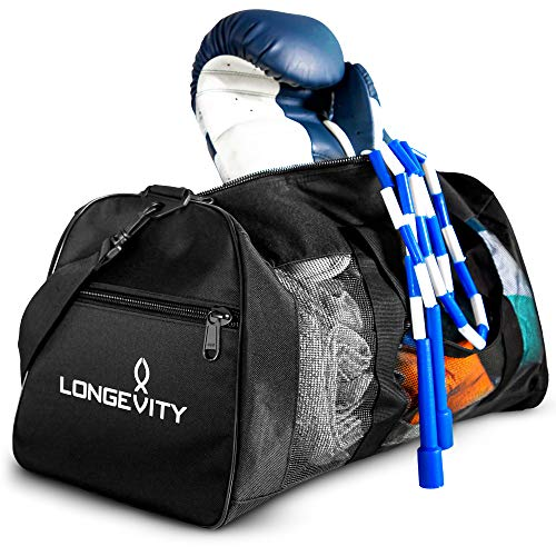 Longevity Gear Mesh Bag | Duffle Bag | Boxing Bag | Gym Bag | MMA, BJJ, Swimmers, Active Athletes | Breathable Duffel Bag for Sweaty Clothes and Equipment | No More Stink