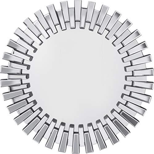 Kare Design Spiegel Sprocket Ø92cm, großer, runder XXL Wandspiegel mit Silberrahmen, moderner Design Dekospiegel, Silber (H/B/T) 92x92x4,5cm
