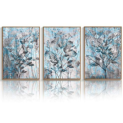 """WF WU FANG Wall Art Canvas Floral Botanical Aesthetic Artwork Painting Gift (Unframed 12""""x16""""x3 Panels) Giclee Picture Poster Prints for Home Decor Office Kitchen Living Room Bathroom Wall Decoration"""