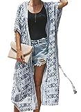SIDEFEEL Damen Lange Strand Cardigan Druck Strand Kimono Bikini Cover up Strand Jacke Strandponcho Oversize Bluse Tops Eine Größe
