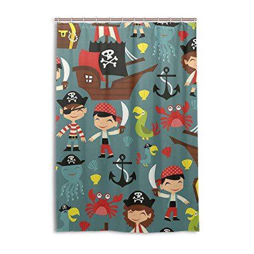 XiangHeFu Duschvorhang mit Haken 121,9x 182,9cm Retro Pirat Adventure Schiff Papageien (Wasserdicht & Schimmelresistent 100prozent) für Frau Mann Badezimmer Home Decor