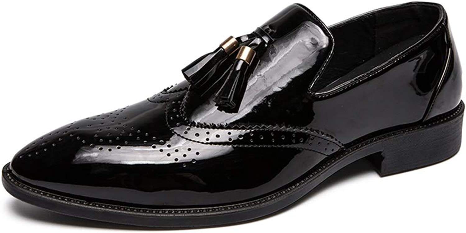 CHENXD shoes, Men's Fashion Tassel Cover Foot Patent Leather Carving Brogue Business Oxford Casual British Slip On Big Size shoes
