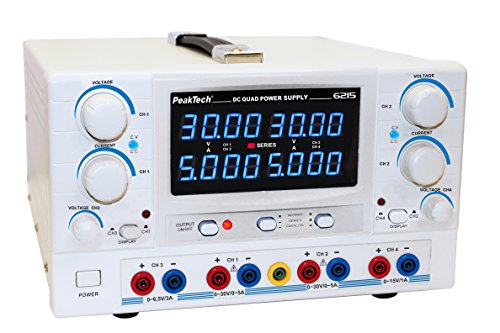 PeakTech Digtial Quad Labornetzteil - Labornetzgerät 0-30V / 0-5A DC, stabilisiert, linear regelbar, 1 Stück, P 6215