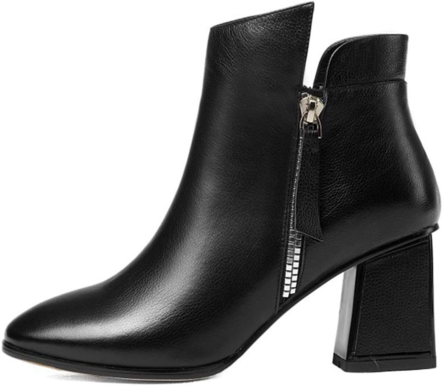 Women's Booties, Thick High Heel Ankle Bootie Winter Fashion Zipper Square Head Ladies Martin Boots (color   B, Size   36)
