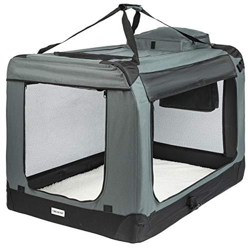 ONVAYA® Faltbare Transportbox für Hunde & Katzen | M - XXL | Faltbare Hundebox oder Katzenbox für Auto & Zuhause | Farbe grau schwarz (XXL)