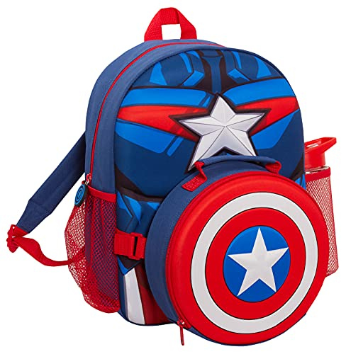 Kids Captain America School Backpack with Marvel Shield Cooler Lunch Box...