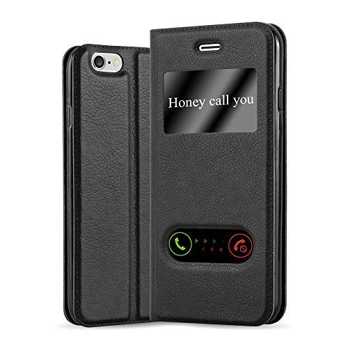 Cadorabo Hülle für Apple iPhone 6 Plus/iPhone 6S Plus in KOMETEN SCHWARZ – Handyhülle mit Magnetverschluss, Standfunktion & 2 Sichtfenstern – Hülle Cover Schutzhülle Etui Tasche Book Klapp Style